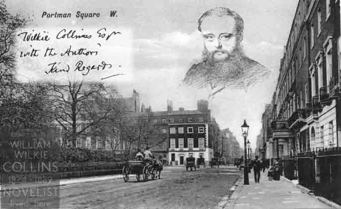 Montage of Wilkie Collins, signature, portrait and Portman Square
