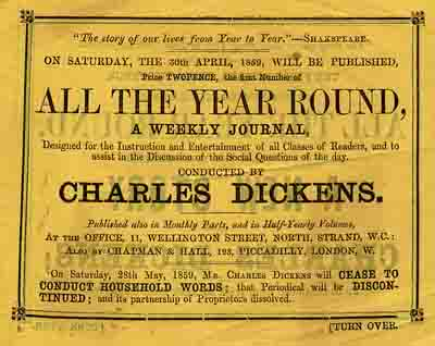 Advertisement for Charles Dickens's All the Year Yound.