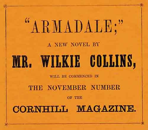 Advertisement for Armadale by Wilkie Collins in the Cornhill