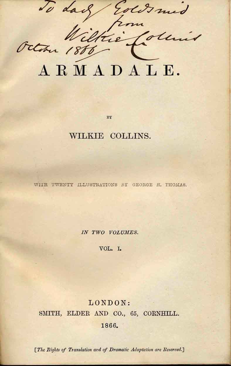 Presentation copy of Armadale to Lady Goldsmid