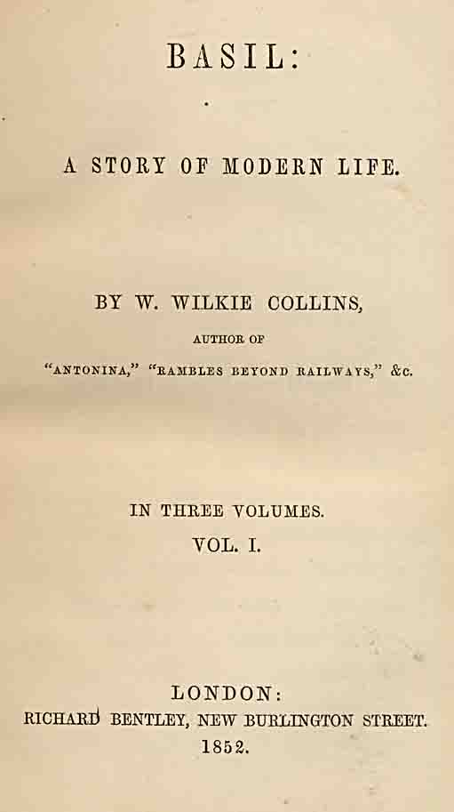 Basil by Wilkie Collins - first edition title-page.