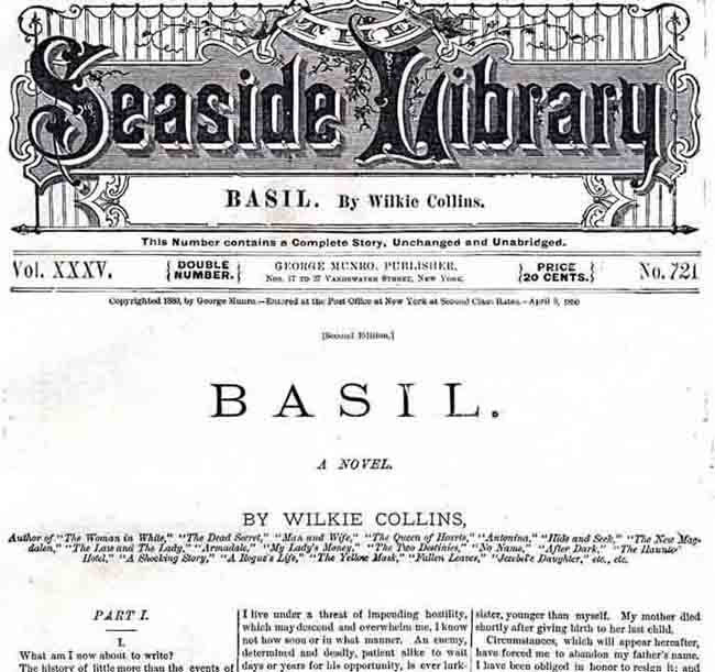 Seaside Library edition of Basil in 1880.