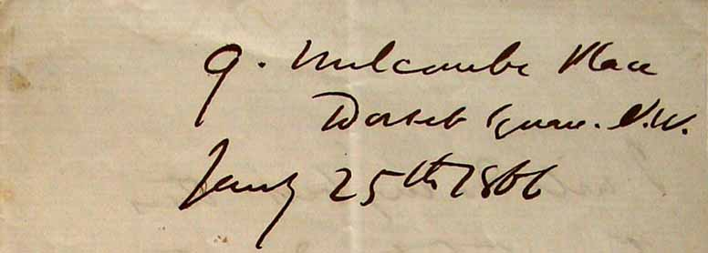 Wilkie Collins's handwritten address for Melcombe Place