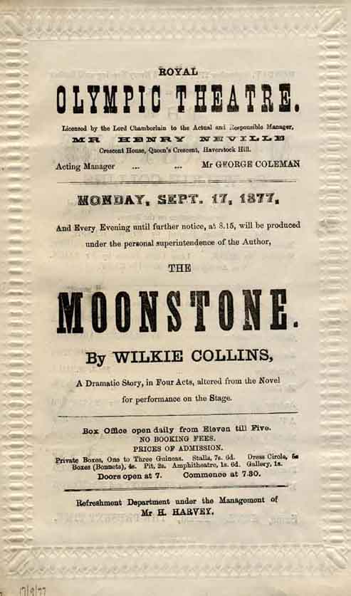 Moonstone programme at the Olympic Theatre.