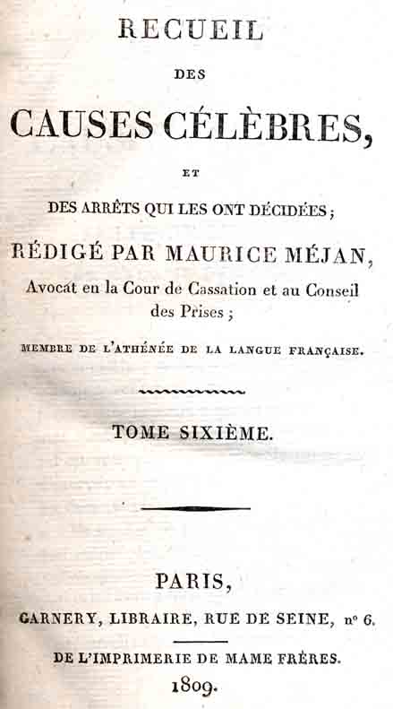 Title-page to Receuil des cause Celebres by Maurice Mejan.